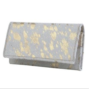 White hairon wallet with gold flecks, handcrafted